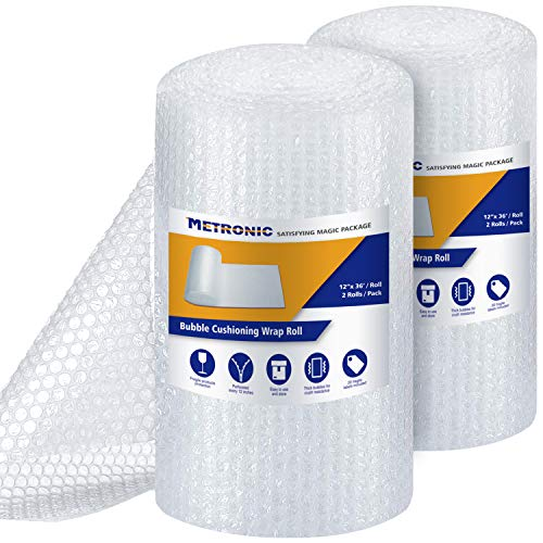 Metronic Bubble Cushioning Wrap Roll 12x72 FT Bubble Roll- Perforated 12×12', 2 Rolls Air Bubble Cushioning Roll, 20 Fragile Sticker Labels,Moving Supplies Cushioning Wrap for Packing Shipping Boxes