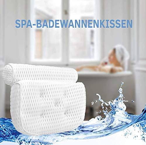 TrustUns Badewannenkissen Nacken - 4D Air Mesh Technologie Wannenkissen Nackenkissen Badewanne Entspannung - Premium Badekissen mit 7 Saugnapf für Home Spa Whirlpool Kissen Badewannen Zubehör - Weiß