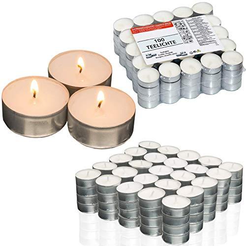 Smart-Planet® Kerzen Ambiente - 100 Stück Teelichter Set Kerze in Aluminium Hülle Teelicht in weiß - Lange Brenndauer