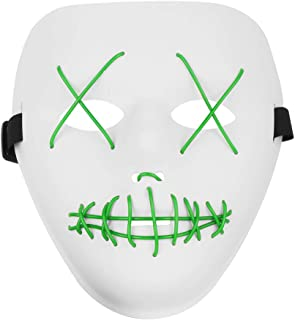 Halloween Scary Mask LED Cosplay Costume Mask El Wire Light Up Mask for Halloween Festival Party
