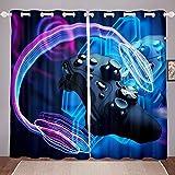 Homewish Gamer Cortinas de ventana Gamepad, paneles de cortina de ventana para juegos para niños, adolescentes y adultos, colección de decoraciones de auriculares abstractas de 167 x 183 cm