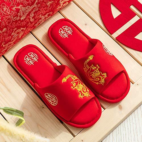 YWSZJ Inicio Pareja Zapatillas de Boda Mujer Estilo Chino Novia Novio Zapatillas de Fiesta Zapatillas Regalo (Color : Style 2, Size : #38-39)