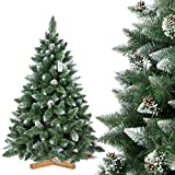 FairyTrees Pino Naturale con Punte innevate, Albero di Natale Artificiale, PVC, pigne Naturali, Supporto in Legno, 150cm