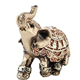 CHENJIEUS Golden Polyresin Elephant Statue Sculpture Trunk Wealth Lucky Collectible Figurine Gift Home Decor Feng Shui Ornament Elephant Decor Elephant Statue (Small)