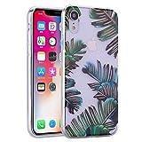 para la Funda del teléfono iPhone X/iPhone XS, Estuche HengJun ultradelgado Transparente Transparente de TPU [absorción de Impactos] para iPhone X/iPhone XS -Hoja de plátano