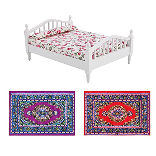 G0lden&Mang0 3Pcs Dollhouse Decoration Accessories, 1Pc Mini Dollhouse Furniture Bed and 2Pcs Miniature Carpet Turkey Rugs for Kids Gift
