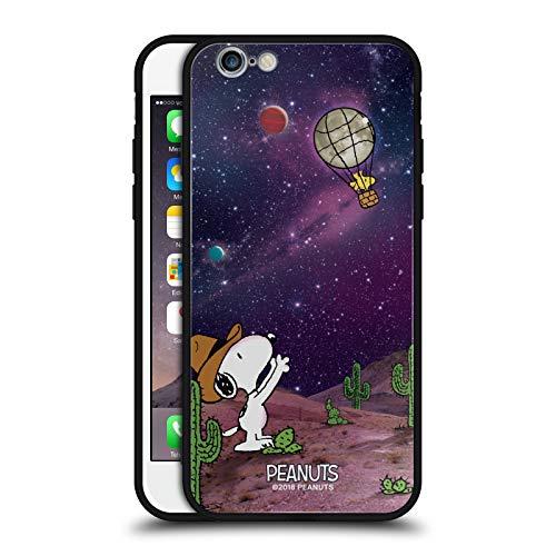 Head Case Designs Ufficiale Peanuts Nebulosa Palloncini Woodstock Snoopy Cowboy Spazio Cover Nera Ibrida in Vetro per Parte Posteriore Compatibile con Apple iPhone 6 / iPhone 6s