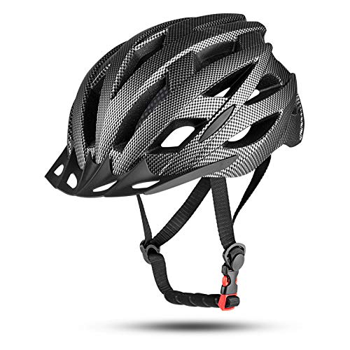 MOKFIRE Kids Bike Helmet for Boys Girls with Detachable Visor& Rear Light,CPSC Certified Bicycle Helmet for Mountain Road Cycling,Adjustable Size Youth Cycle Helmets (21.25-22.44inch)-Black Carbon
