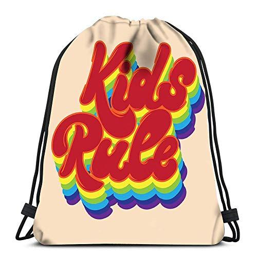 Lmtt Drawstring Bags Backpack Kids Rule Pin Badge Travel Backpacks Tote School Rucksack