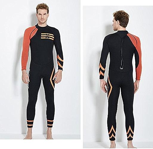 JASZHAO 3MM néoprène plongée Wetsuit Homme Natation Plein Corps Costumes sous-Marin Chasse plongée Rash gardes Combinaisons Combinaison,Orange,XL