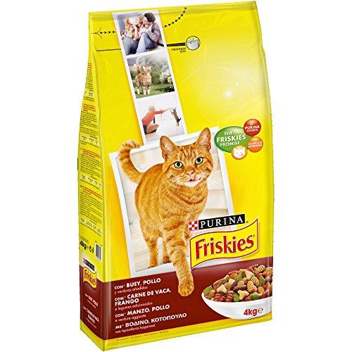 Purina Friskies Pienso para Gato Adulto Buey, Pollo y Verduras 4 x 4 Kg ⭐
