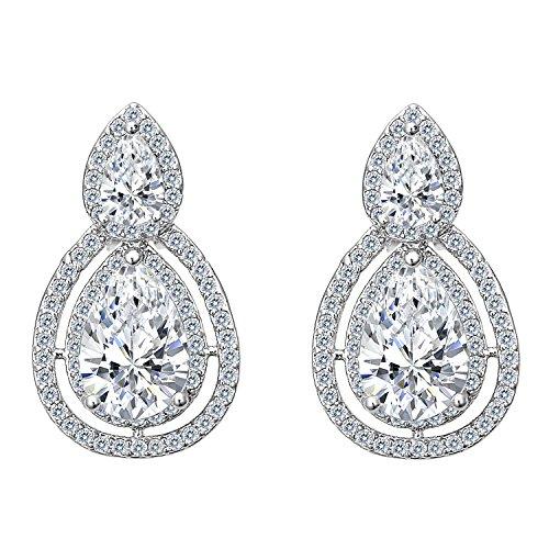 Clearine Mujeres Moda Elegante Cristal Lágrima Hollow Infinito Clip-On Colgar Pendientes Clear