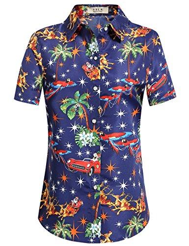 SSLR Women's Holiday Santa Claus Casual Ugly Hawaiian Christmas Shirts (Small, Navy)