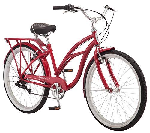 Schwinn Sanctuary 7 Comfort Cruiser Bike, med retroformad 16-tums / liten stålgenomgående ram och 7-växlad drivlina med främre och bakre skärmar, bakre rack och 26-tums hjul, röd