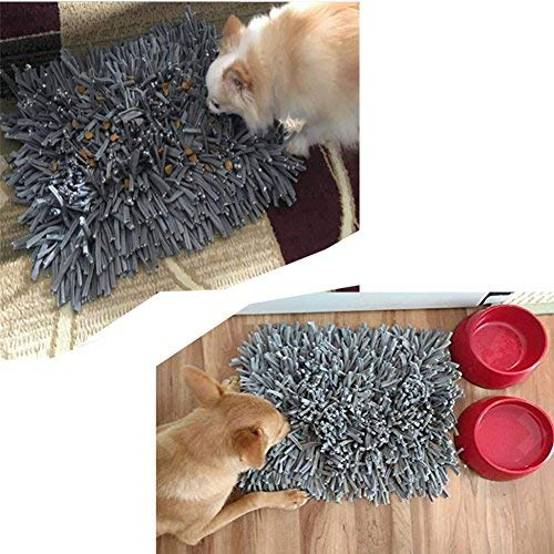 """Zicosy Snuffle Mat for Dogs- Feeding Mat for Dogs (12"""" x 18"""") - Grey Feeding Mat - Encourages Natural Foraging Skills - Easy to Fill - Durable and Machine Washable - Perfect for Any Breed (gray)"""