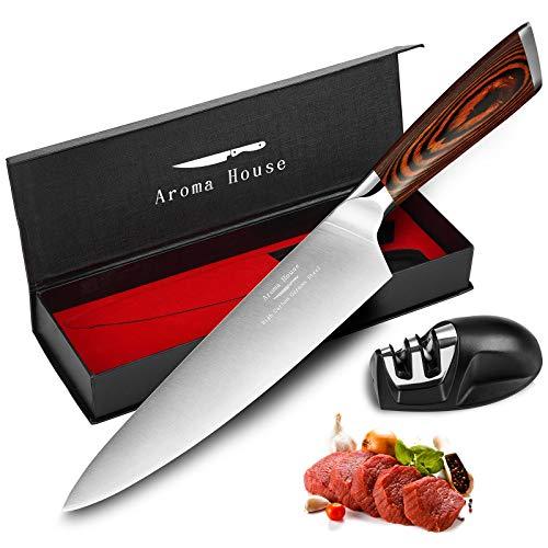 Aroma House Kochmesser Küchenmesser Chefmesser 20 cm (8 Zoll) Deutscher Edelstahl Japanisch Profi Köche Messer mit Ergonomischem Griff, Messerschärfer und Geschenkbox