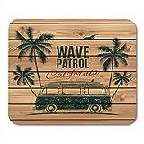 Alfombrillas de ratón Camper Hippie Grunge Vintage Retro Surf Van con palmas y gaviotas en tablones de madera Tabla de surf Alfombrilla de ratón gráfica para cuadernos, computadoras de escritorio Alfo