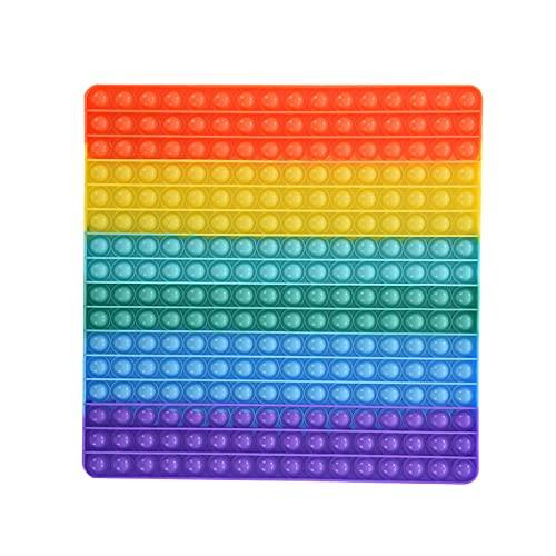 ninRYA Super Jumbo Push Pop Fidget Spielzeug, Regenbogen Schachbrett Push Bubble Popper Fidget sensorisches Spielzeug für Eltern-Kind-Zeit, 256 Blasen Beliebtes Stressabbau-Spielzeug Spiel (quadratisch)