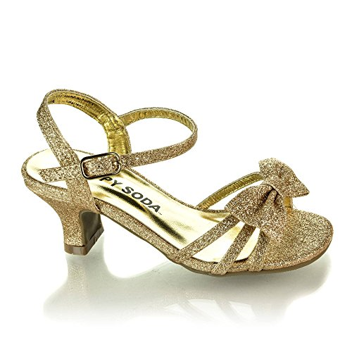 Soda Girls Girly-2 Metallic Glitter Open Toe Bow Slingback Small Block Heel Sandals,Gold Glt,13