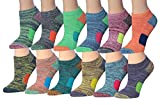 Tipi Toe Women's 12-Pairs Space Dye Athletic Performance Socks, Fits shoe size 6-10