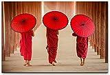 bestforhome 100x70cm Leinwandbild DREI Myanmar Mönche mit