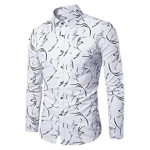 JUNGE 2021 New Mens Shirts, Designer T Shirt Graphic Tees Long Sleeve Button Down Shirts Western Casual Hawaiian Shirts Vintage Slim Fit Lapel Collar Tops Plus Size Blouse Branded Plaid Printed Shirts