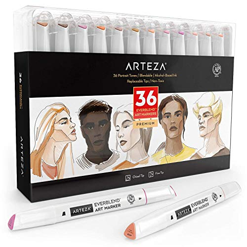 ARTEZA Skin Tone Alcohol Based Everblend Art Markers, Set of 36 Colors, Sketch Markers with Dual Tips (Fine and Broad Chisel) for Painting, Coloring, Sketching and Drawing