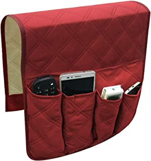 YuamMei Sillón Sofá antideslizante y antideslizante Organizador para reposabrazos de sofá, con 5 bolsillos para teléfono, libro, control remoto de TV (rojo)