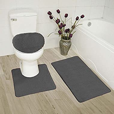Elegant Home 3 Piece Bathroom Rug Set Bath Rug, Contour Mat, Lid Cover Non-Slip With Rubber Backing Solid Color # 6 (Charcoal/Dark Grey)