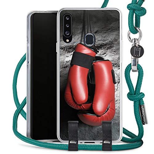 DeinDesign Carry Case kompatibel mit Samsung Galaxy A20s Hülle mit Kordel aus Stoff Handykette zum Umhängen türkis Boxen Boxhandschuhe Sport