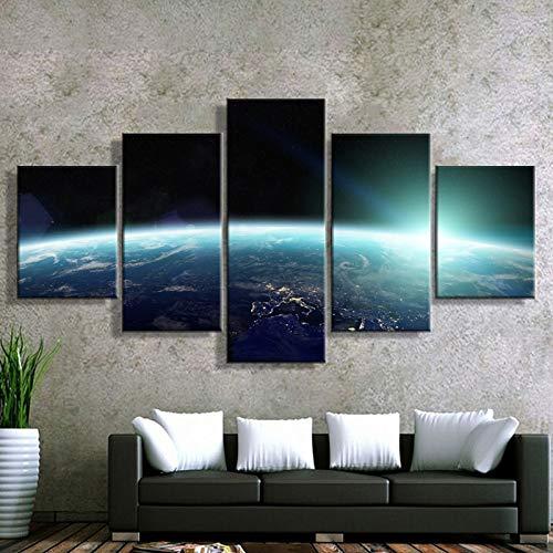 Tong99 Modulaire afbeelding muurkunst poster canvas schilderij 5 panelen kunstwerk ruimte landschap moderne woonkamer decoratie L-30x40 30x60 30x80cm Geen lijst