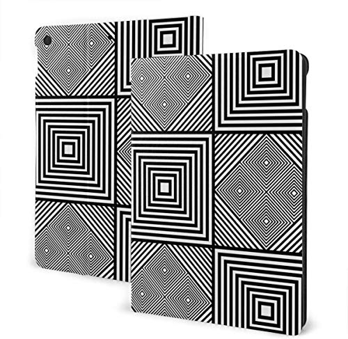 Seamless Ethnic Tribes Case for New IPad 7th Generation 10.2 Inch 2019 Multi-Angle Viewing Folio Smart Stand Cover Auto Wake/Sleep for IPad 10.2' Tablet-Seamless Mosaic Black And White Line Shading-O