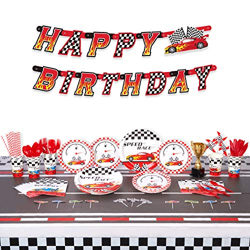 Decorlife Race Car Birthday Party Supplies for 16, Car Birthday Decorations for Boys, Paper Plates, Napkins, Cups, Racing Trophy, Pinwheels, 54' x 108' Tablecloth, Cupcake Toppers, Happy Birthday Banner, Cutlery Set, Striped Straws, 163PCS