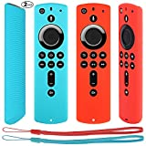Pinowu Remote Sleeve Cover for Fire TV Stick 4K Compatible with All-New 2nd Gen Alexa Voice Remote Control Cover (2 Pack: Turquoise and Red)