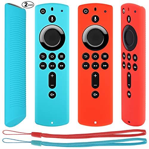 Pinowu Fernbedienung Schutzhülle kompatibel mit Fire TV Stick 4K Alexa-Sprachfernbedienung, Stoßfestes Silikon Haut mit Trageschlaufe (2 Stück: Türkis und Rot)
