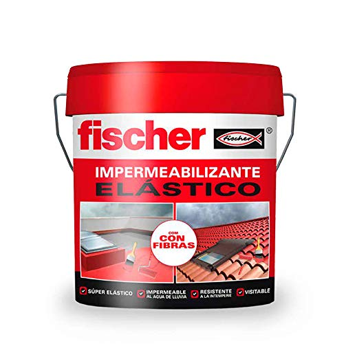 fischer – Impermeabilizante (cubo de 15 l) rojo, polímero líquido a base de caucho acrílico con fibras para tejas y baldosas, fácilmente aplicable, resistente al agua y a la intemperie