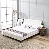 Mecor White Upholstered Faux Leather Platform Bed with Solid Wooden Slat Support and Button Tufted Headboard and Footboard-Queen Size- White