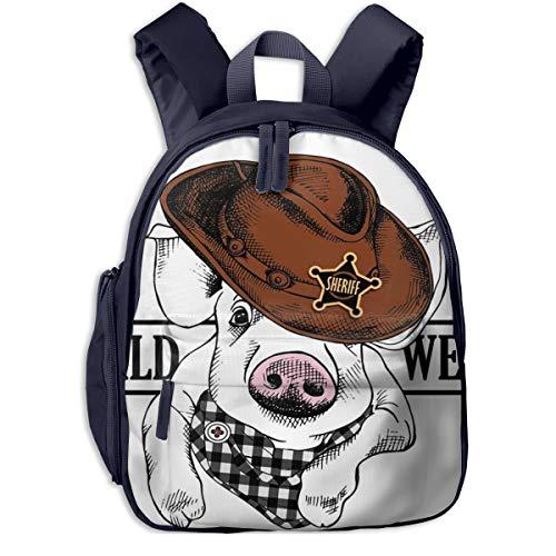 Sac à Dos pour Enfant Maternelle Chapeau Cowboy Portrait Pig 21 Sacs D'école Bandoulière Réglable Unisexe Garçon Et Fille Cartable pour Quotidien Et Voyage