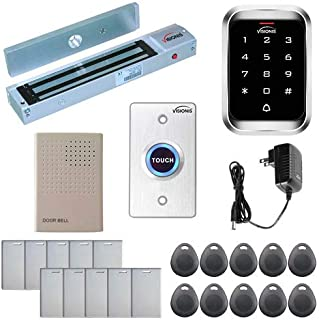 Visionis FPC-5099 One Door Access Control Outswinging Door 600lbs Maglock with VIS-3000 Indoor Outdoor Rated IP68 Keypad/Reader Standalone EM Mifare No Software 2000 Users Kit
