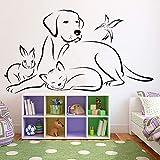 Geiqianjiumai Vinyl Tier wandtattoo Wohnzimmer wandaufkleber veterinärmedizin Hund Katze und Vogel Shop Moderne Dekoration 57,6X102,6 cm