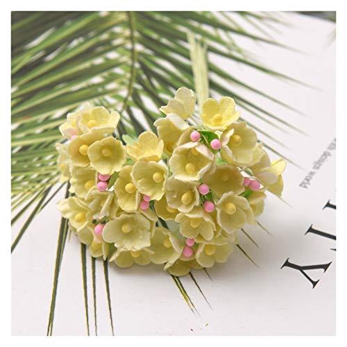 lliang Künstliche Blumen 8 Teile/los Mini Papier Rose Blume Bouquet Für Home Hochzeit Dekoration Weihnachten DIY Sammelalbum Girlande Kranz Handwerk Gefälschte Blumen (Farbe : Yellow)