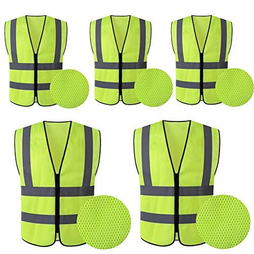 HYCOPROT 5xWarnwesten Sicherheitsweste Hochsichtbare reflektierende Netzweste Executive Manager Jacke Arbeitskleidung Reißverschluss 2-Band-Sicherheit 120 cm x 70 cm (Gelb,Mesh)