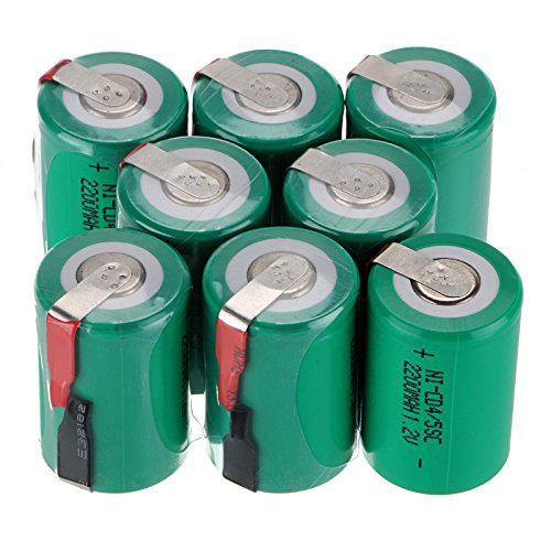 WindMax US SELLER Green Color 8 PCS 1.2V 2200mAh Ni-Cd NiCd Rechargeable Battery Batteries 4/5 Sub C SC with Tabs