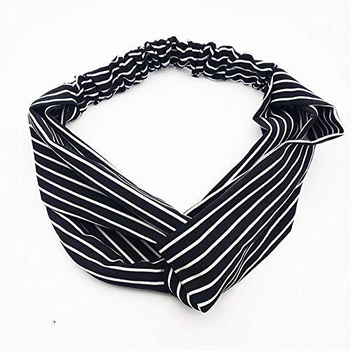 KAEHA SUN-078-09 haarband voor dames en meisjes, gestreept, zwart