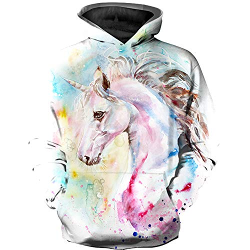 KIDVOVOU Boys Girls Teen's 3D Unicorn Print Hoodies Pullover Kids Sweatshirts,Paint Unicorn,11-12 Years