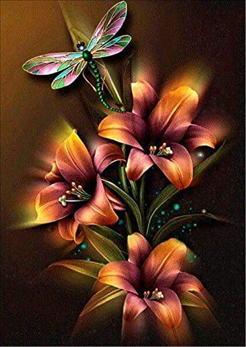 Full Drill Square 5D Diamond Painting by Number Kits, Dragonfly Flower Rhinestone Embroidery Cross Stitch Pictures Arts Craft for Home Wall Decor