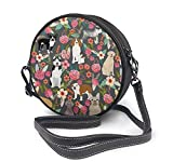 BAODANLA Bolso redondo mujer Round Crossbody Bag Cool Dogs Florals Handbag Purse Single Shoulder Bag Sling Bag