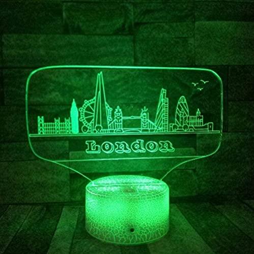 3D Illusion Night Light Ciudad para niños Adultos Niñas Dormitorio Marvel Lámpara de noche 7 colores Forma Toque Interruptor Lámparas con acrílico plano ABS Base USB Carga para la decoración del hogar