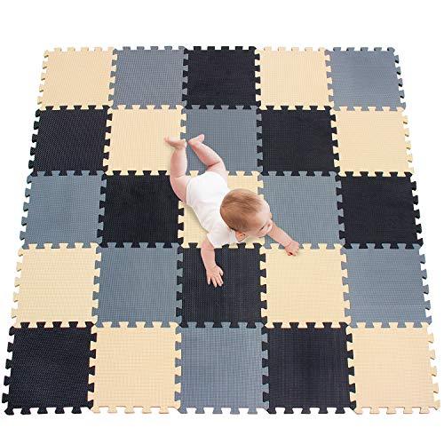 meiqicool Alfombrillas para Puzzles | Alfombra Puzzle para Niños Bebe Infantil Suelo de Goma EVA Suave 142 x 142 cm 25 Piezas Negro-Beige-Gris