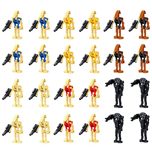 24 Pcs Building Blocks Action Figures - Pack Battle Droids with Weapons Set Star Wars Figure 1.65 inch Figures Army Clone Troopers Droids Boys Kids Gift Toys